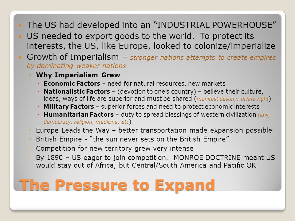 The US had developed into an INDUSTRIAL POWERHOUSE