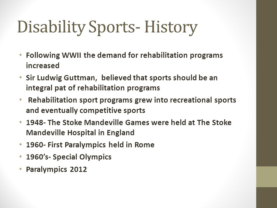 Disability Sports- History