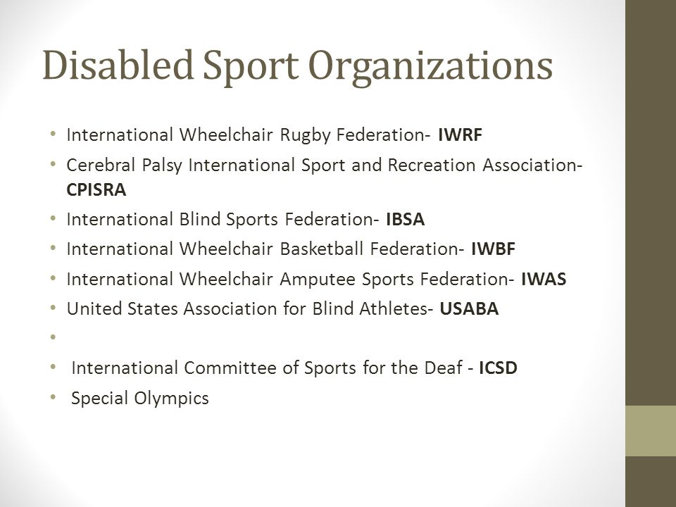 Disabled Sport Organizations