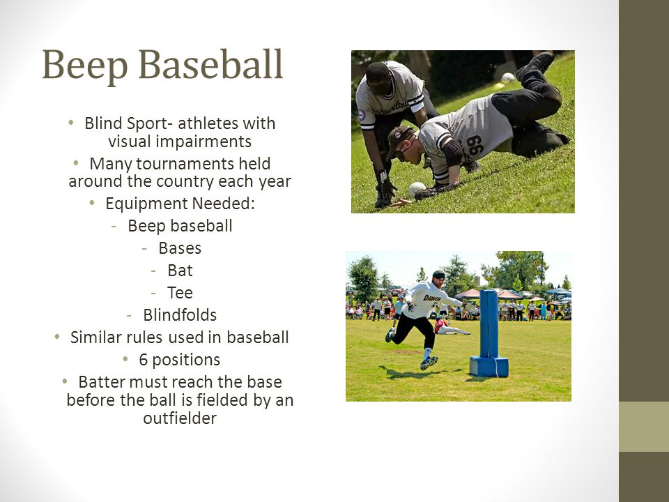 Beep Baseball Blind Sport- athletes with visual impairments