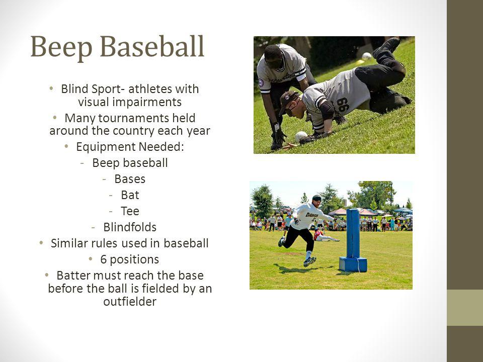 Beep Baseball Blind Sport- athletes with visual impairments