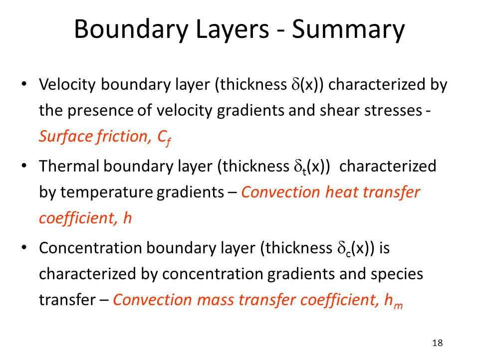 Boundary Layers - Summary