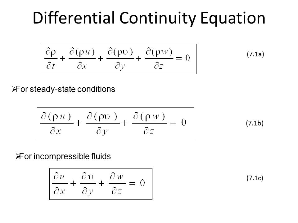 Differential Continuity Equation