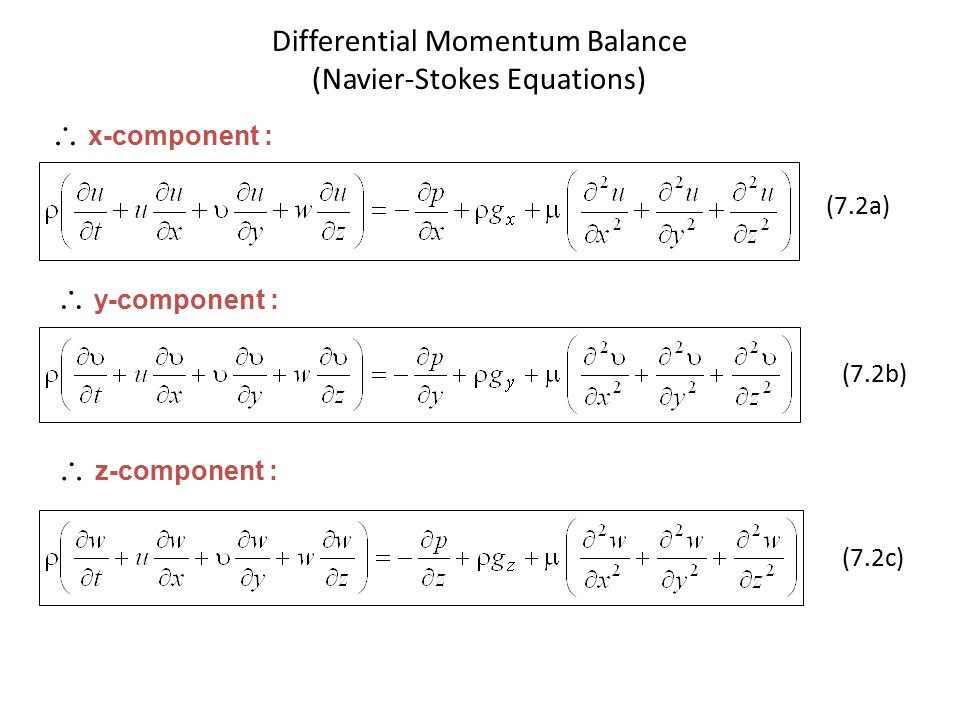 Differential Momentum Balance (Navier-Stokes Equations)