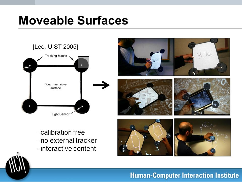 Moveable Surfaces calibration free no external tracker