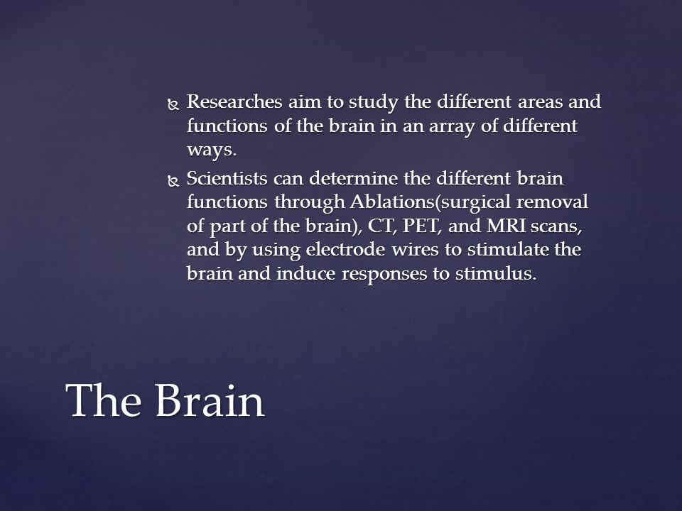 Researches aim to study the different areas and functions of the brain in an array of different ways.
