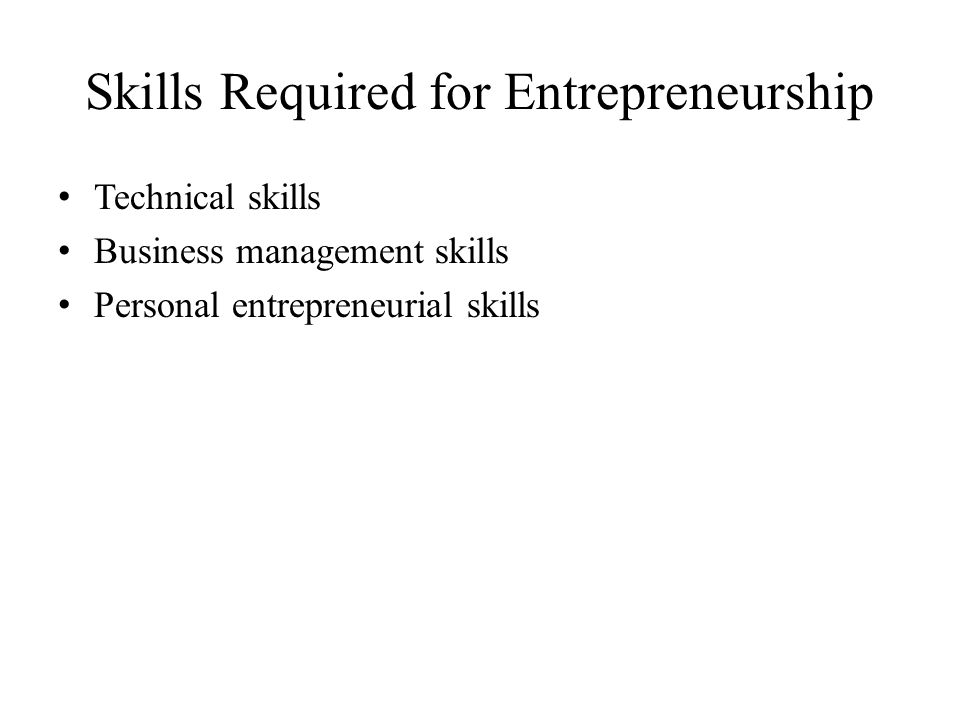 Skills Required for Entrepreneurship