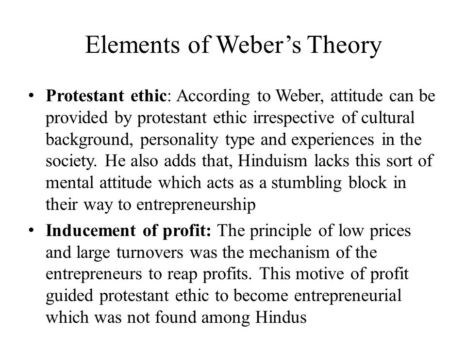 Elements of Weber's Theory