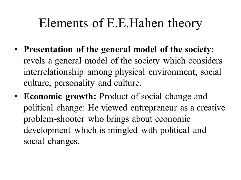 Elements of E.E.Hahen theory