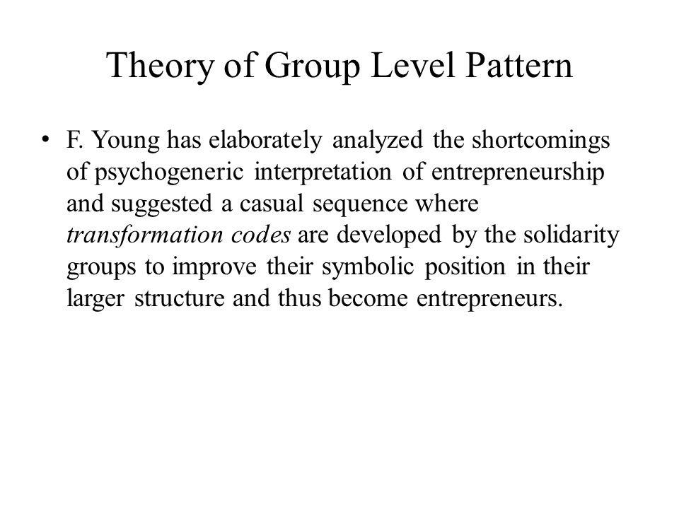 Theory of Group Level Pattern
