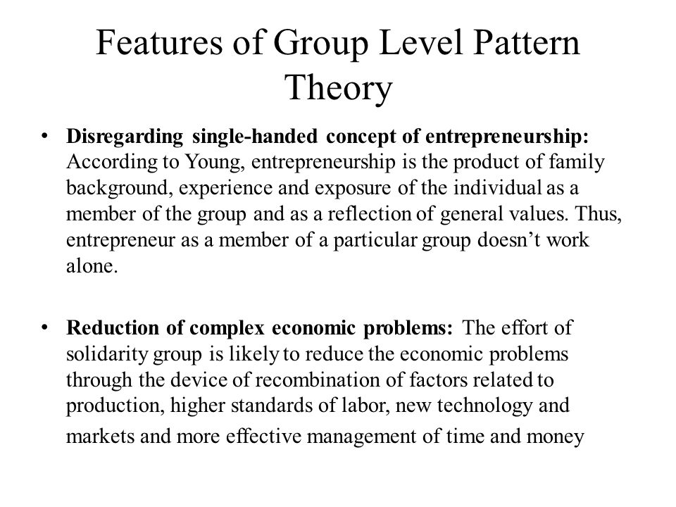 Features of Group Level Pattern Theory