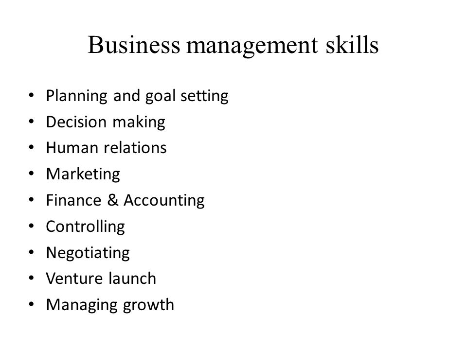 Business management skills