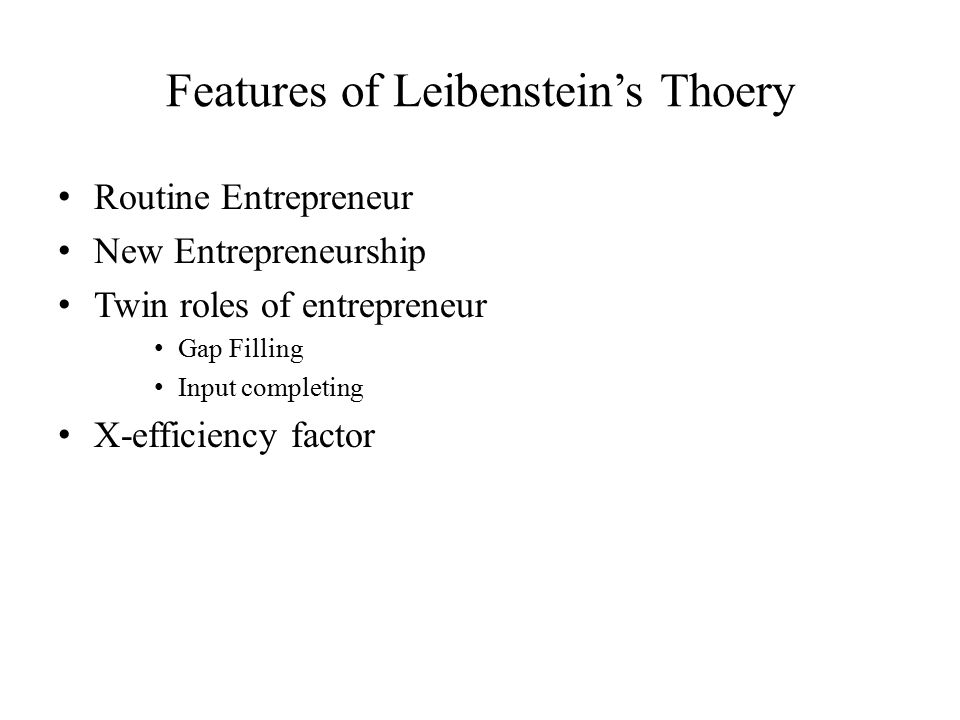Features of Leibenstein's Thoery