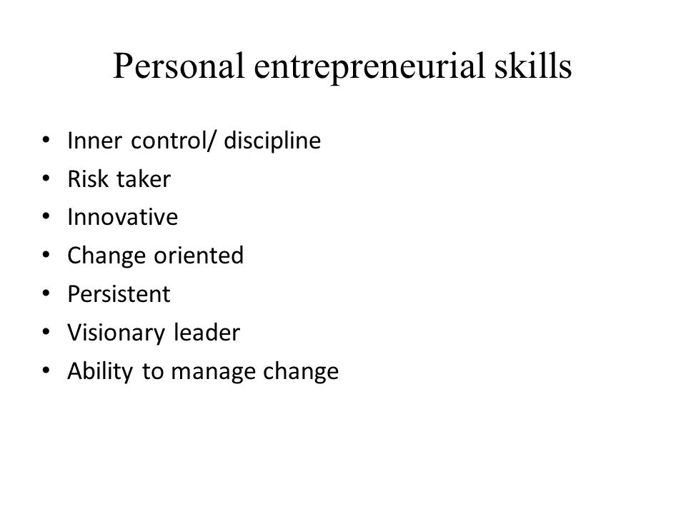Personal entrepreneurial skills