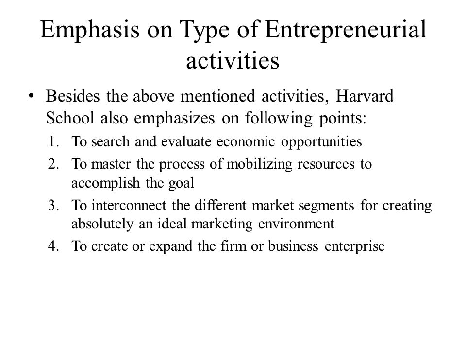 Emphasis on Type of Entrepreneurial activities