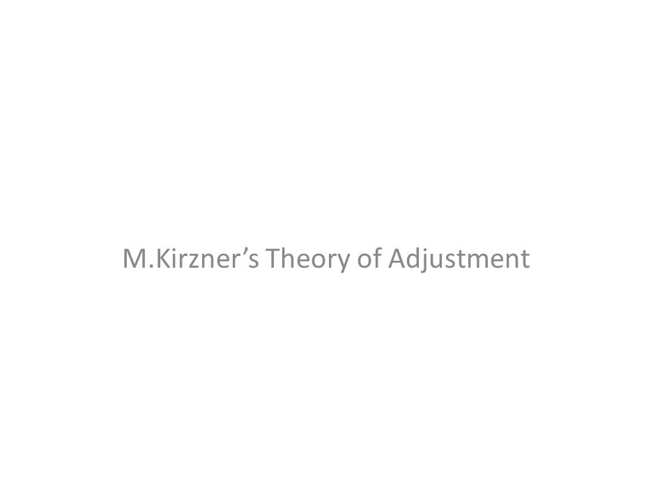 M.Kirzner's Theory of Adjustment