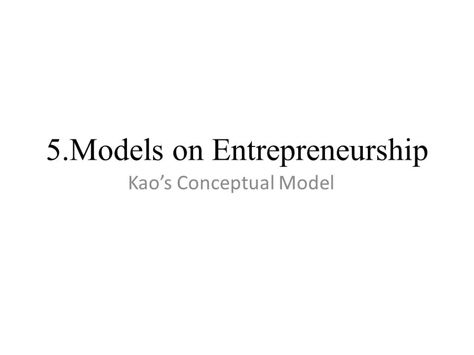 5.Models on Entrepreneurship