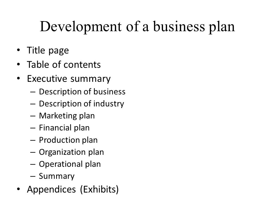 Development of a business plan