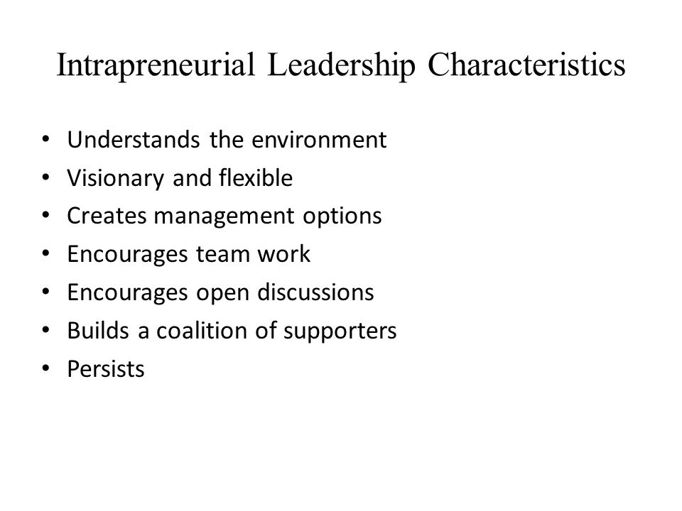 Intrapreneurial Leadership Characteristics
