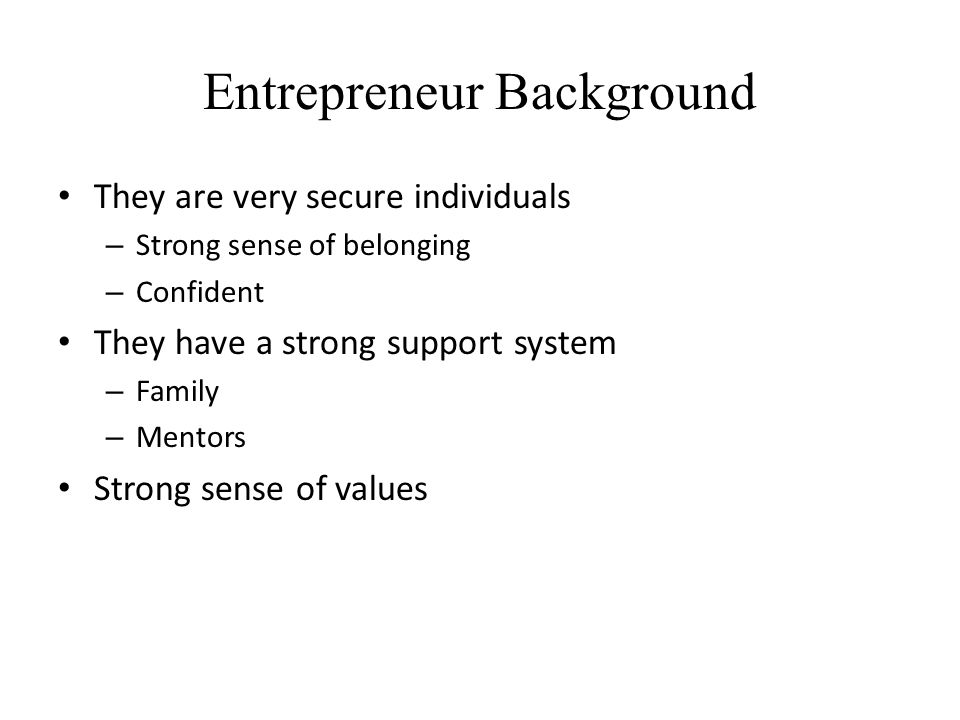 Entrepreneur Background
