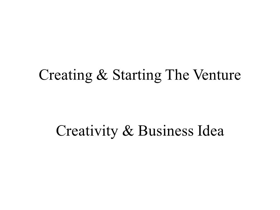 Creating & Starting The Venture