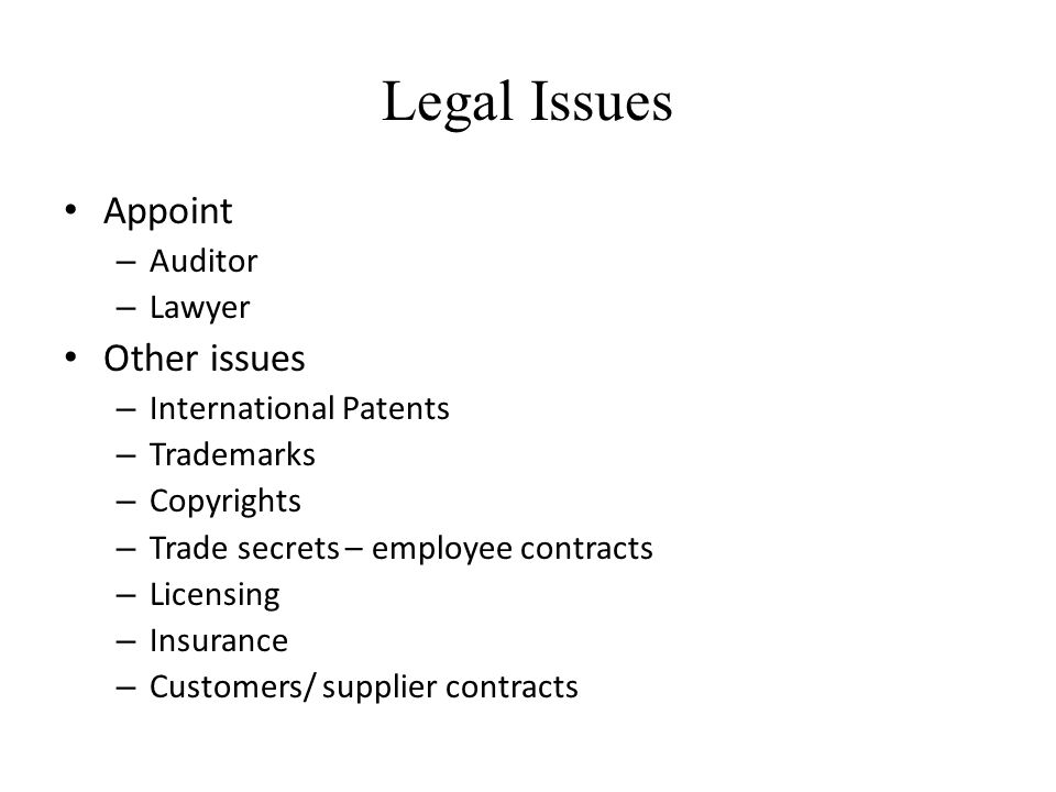 Legal Issues Appoint Other issues Auditor Lawyer International Patents