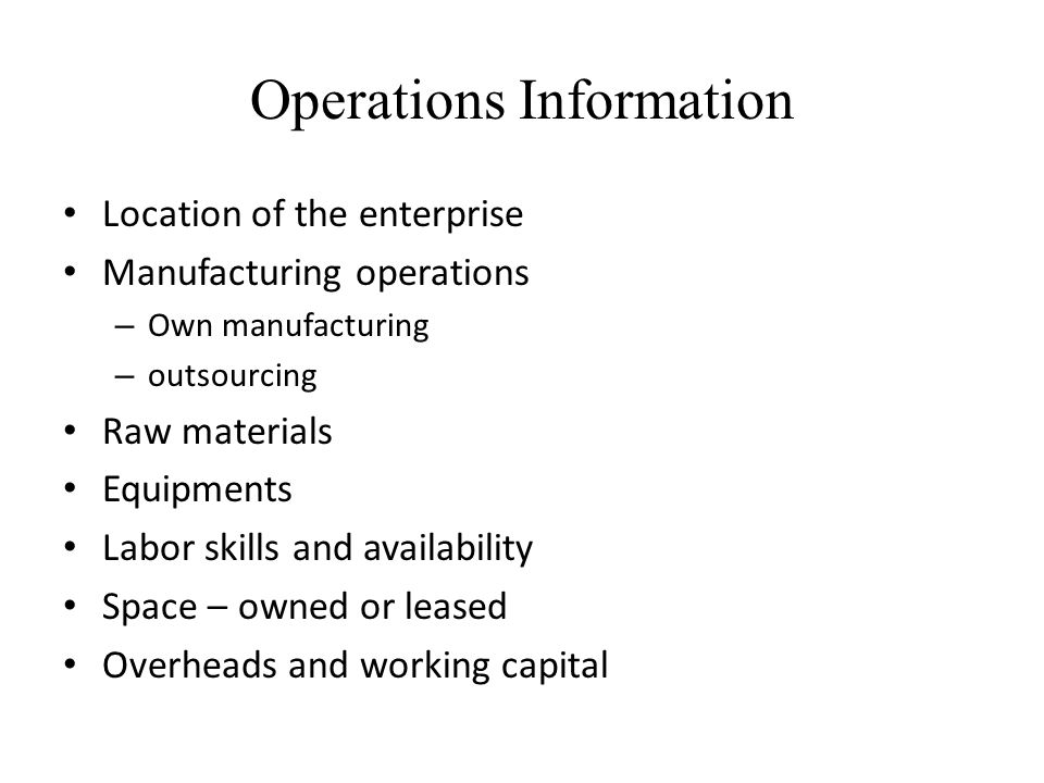 Operations Information