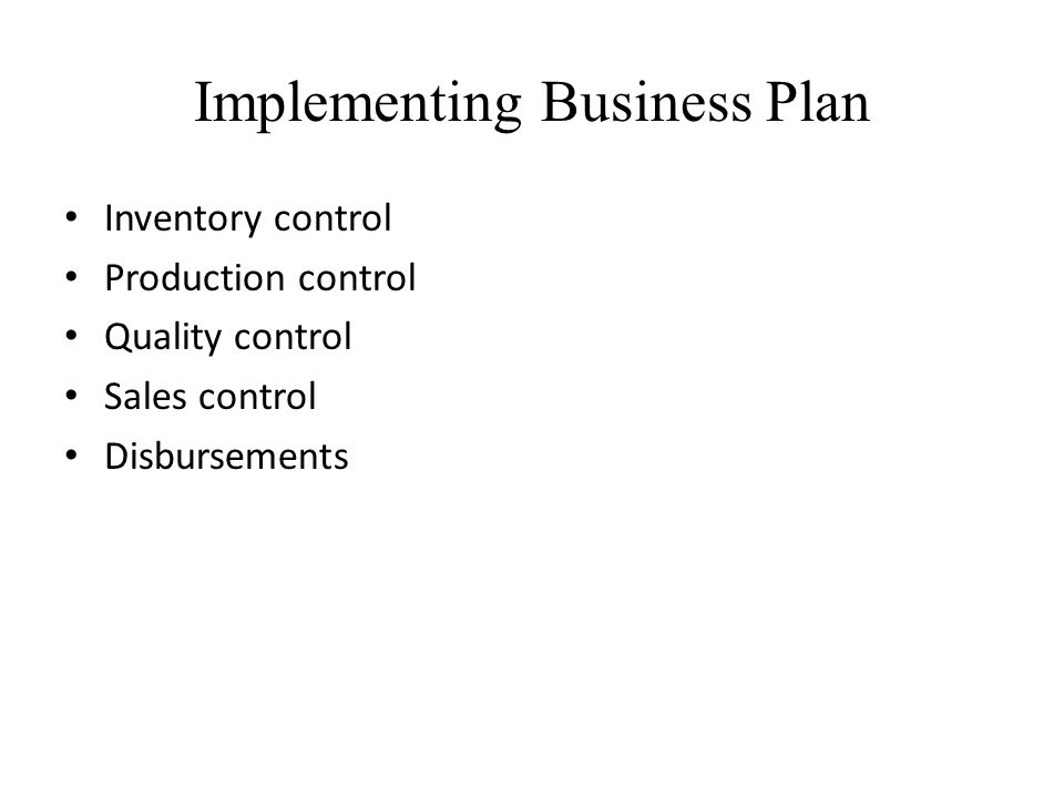 Implementing Business Plan