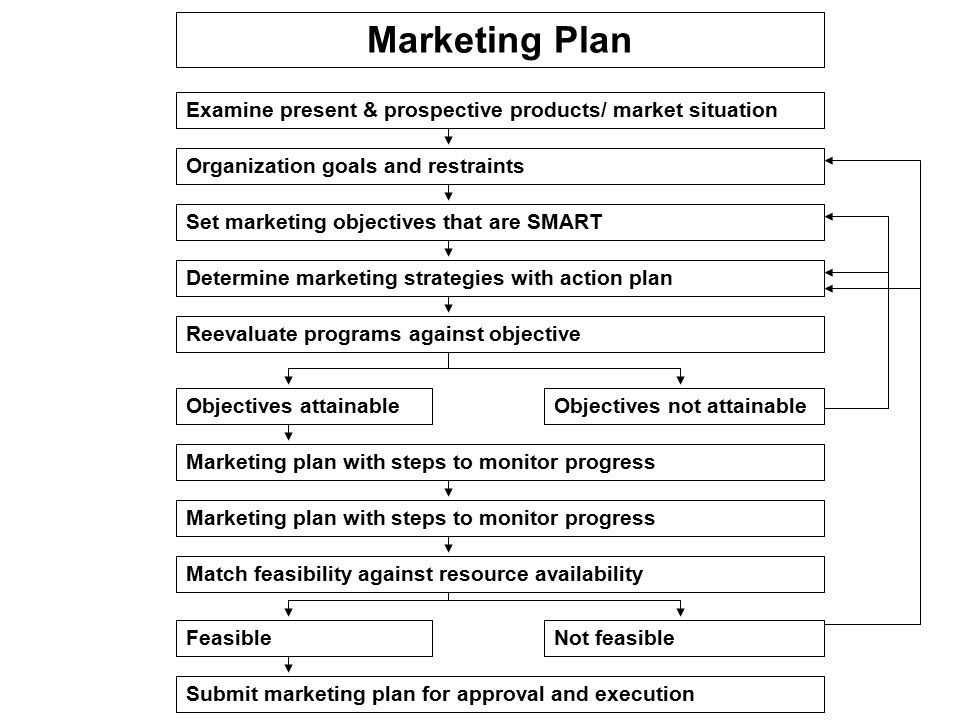 Marketing Plan Examine present & prospective products/ market situation. Organization goals and restraints.