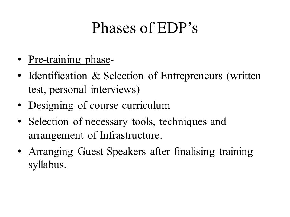Phases of EDP's Pre-training phase-