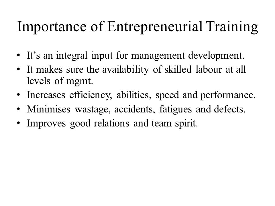 Importance of Entrepreneurial Training
