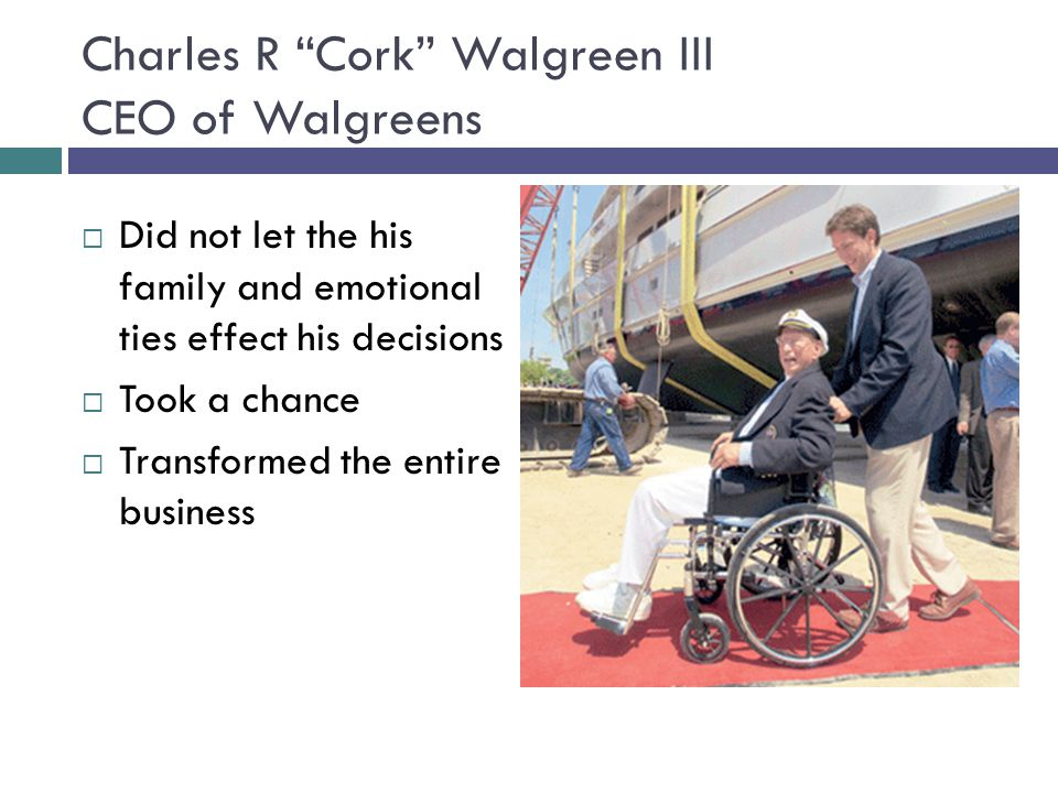 Charles R Cork Walgreen III CEO of Walgreens
