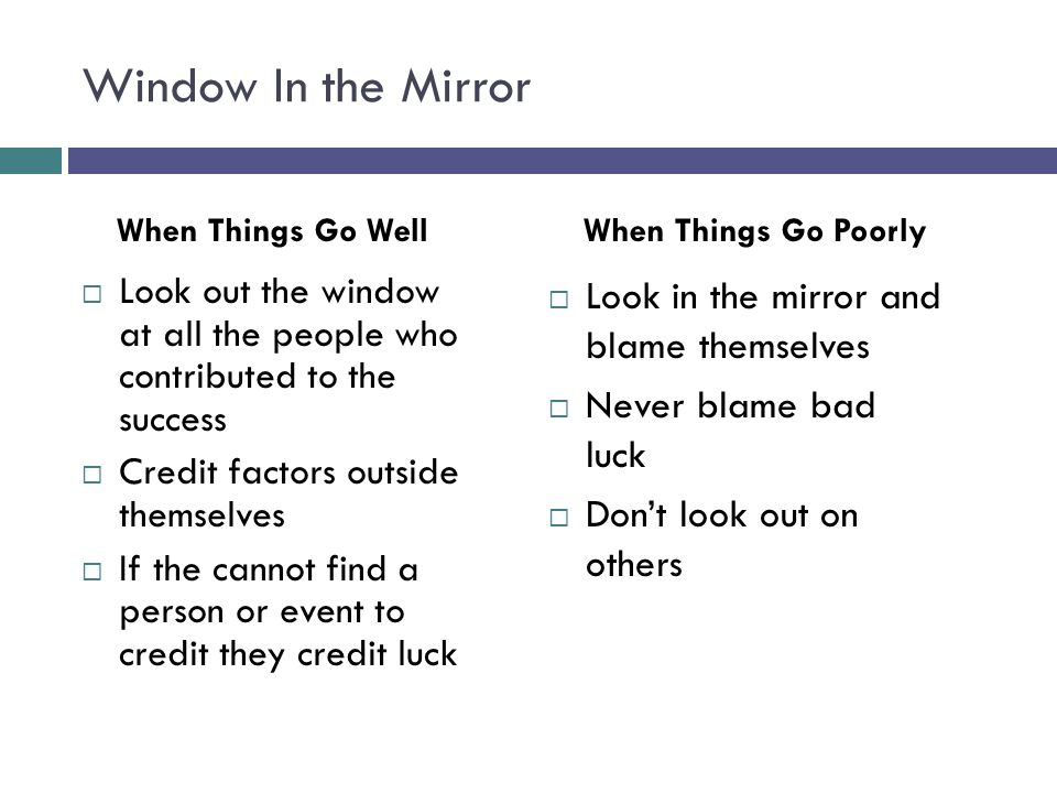 Window In the Mirror Look in the mirror and blame themselves