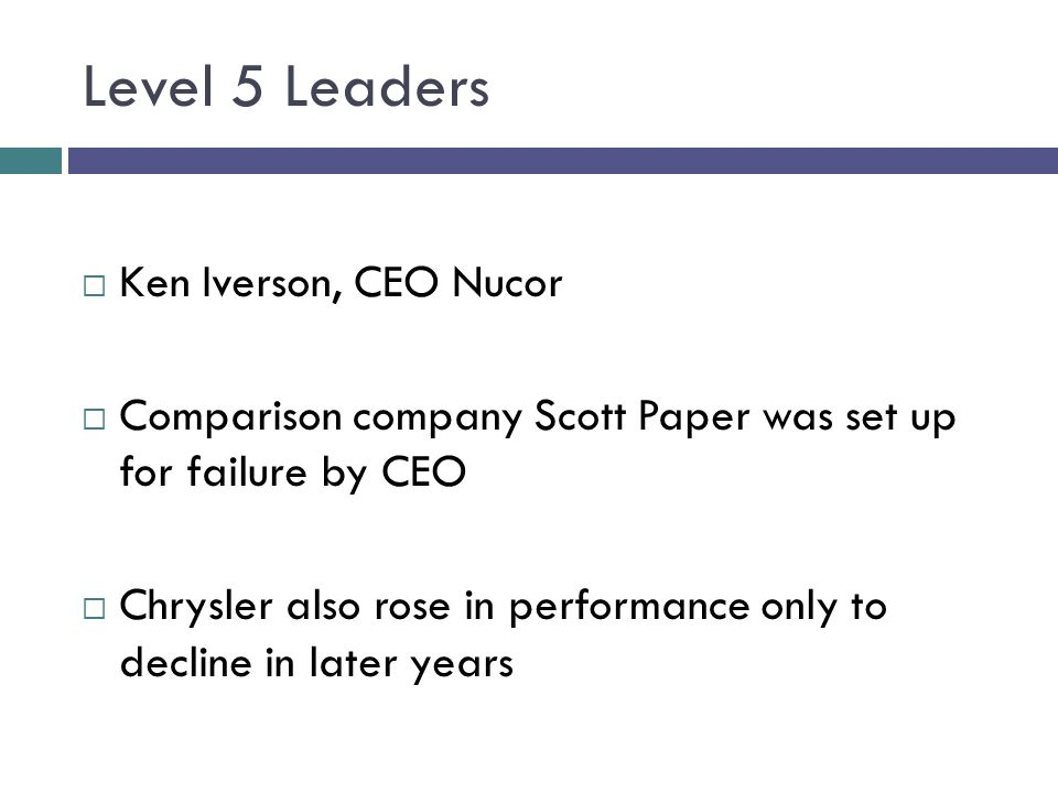 Level 5 Leaders Ken Iverson, CEO Nucor