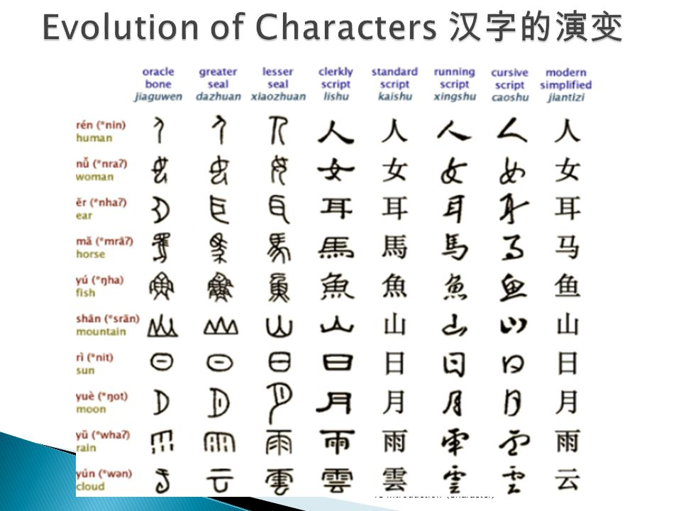 Evolution of Characters 汉字的演变