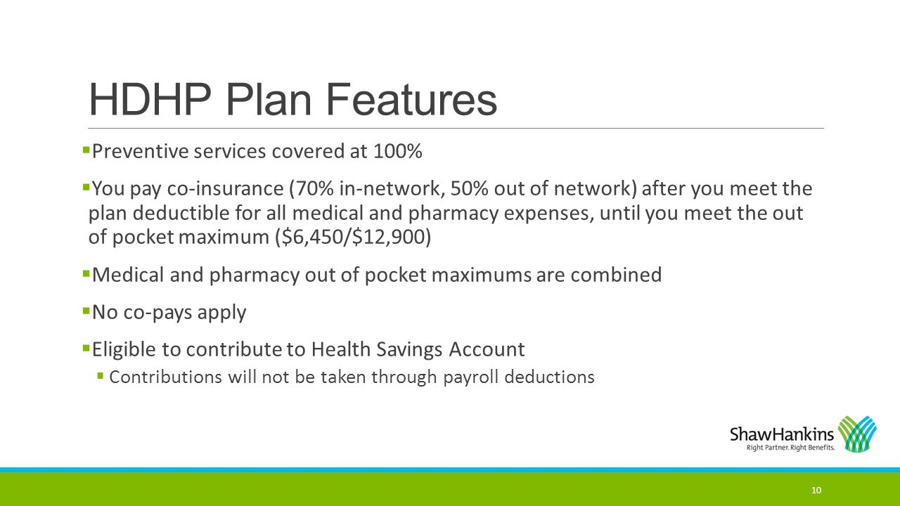 HDHP Plan Features Preventive services covered at 100%