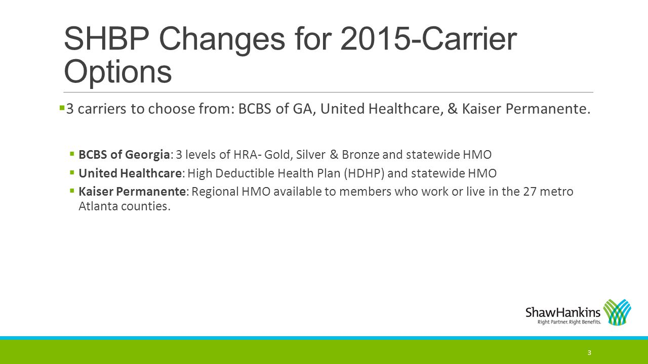 SHBP Changes for 2015-Carrier Options