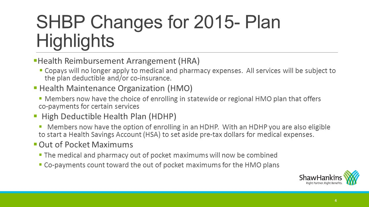 SHBP Changes for 2015- Plan Highlights