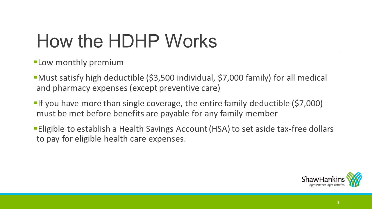 How the HDHP Works Low monthly premium
