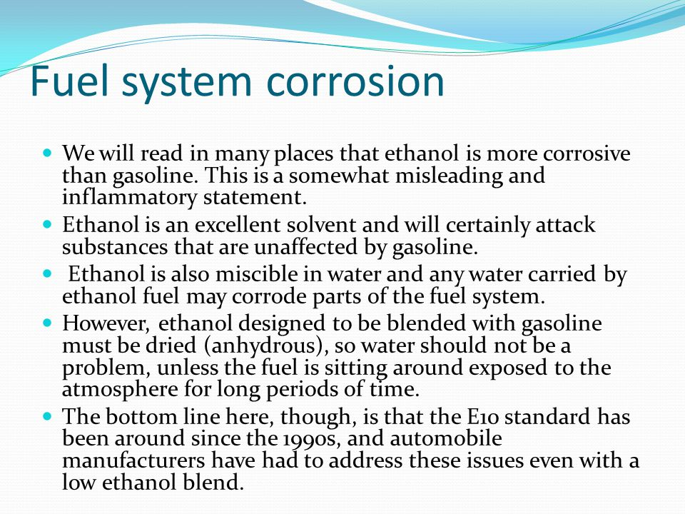 Fuel system corrosion