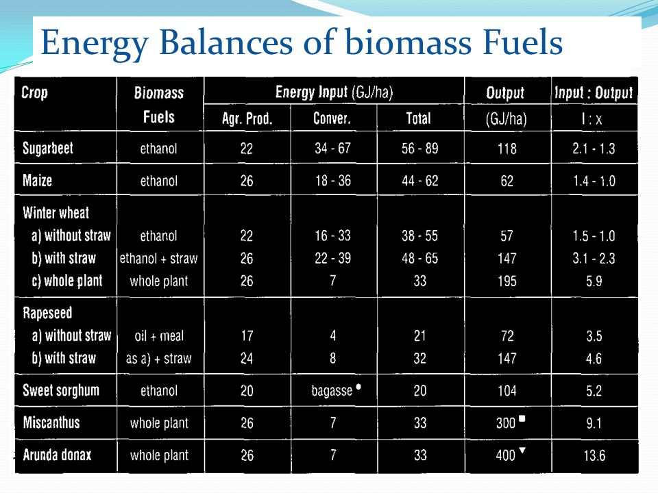 Energy Balances of biomass Fuels