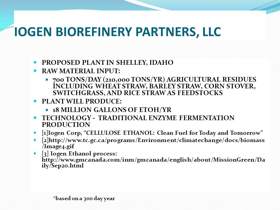 IOGEN BIOREFINERY PARTNERS, LLC