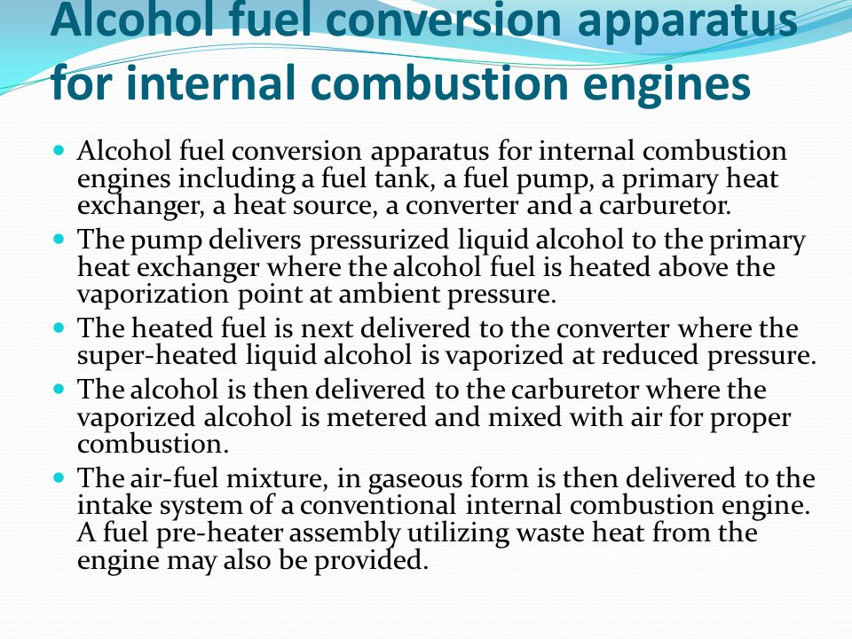Alcohol fuel conversion apparatus for internal combustion engines
