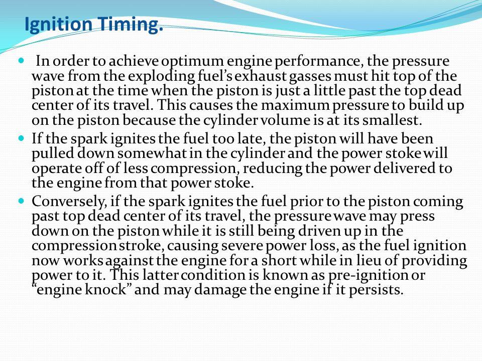 Ignition Timing.