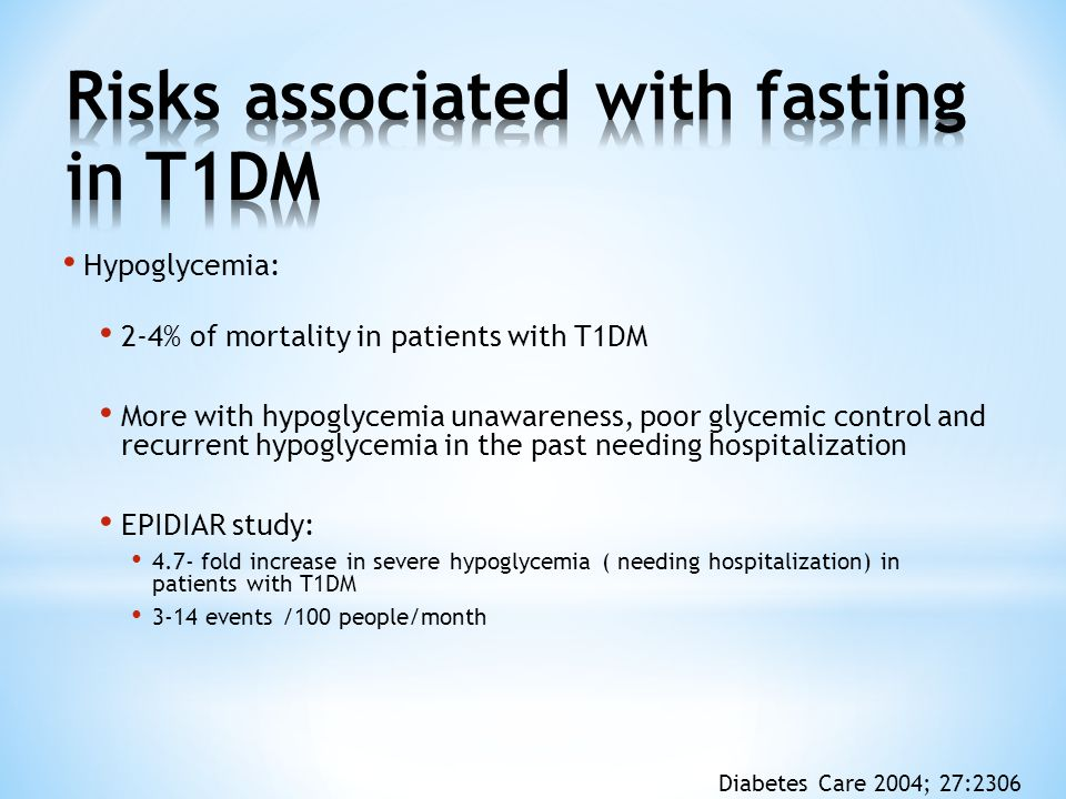Risks associated with fasting in T1DM