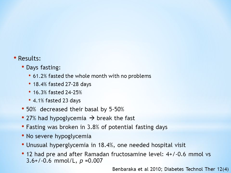 Results: Days fasting: 50% decreased their basal by 5-50%