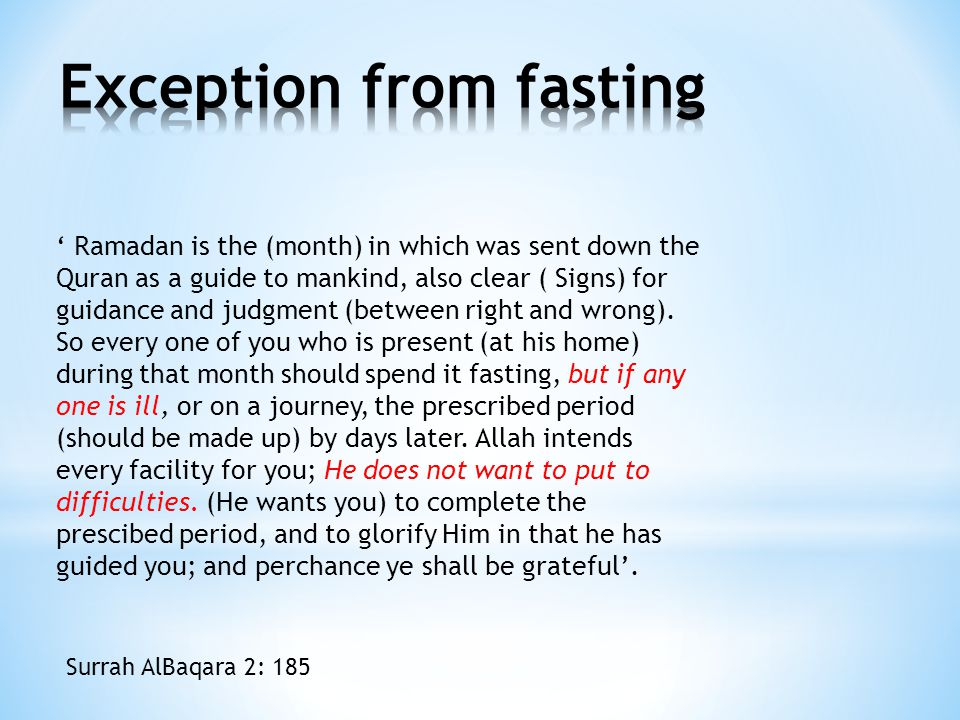 Exception from fasting