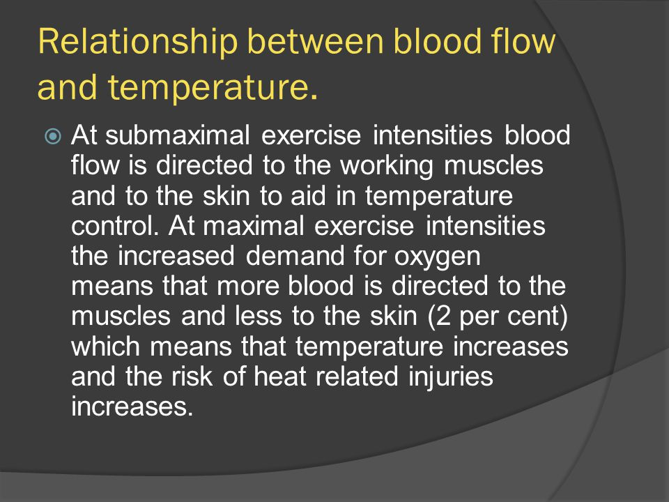 Relationship between blood flow and temperature.