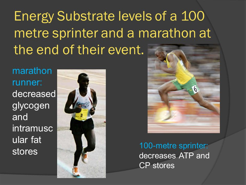Energy Substrate levels of a 100 metre sprinter and a marathon at the end of their event.