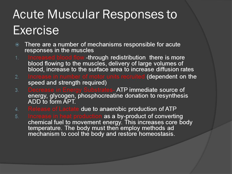 Acute Muscular Responses to Exercise